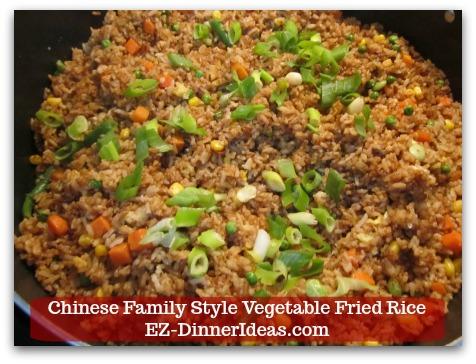 Mixed Vegetable Fried Rice | Chinese Family Style Vegetable Fried Rice - Garnish with scallion (optional) and enjoy immediately!