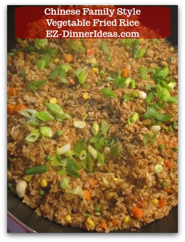 Chinese Family Style Vegetable Fried Rice-This mixed vegetable fried rice is a very traditional and popular Chinese family dish.  That is still very common today.