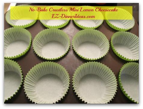 No-Bake Crustless Mini Lemon Cheesecake - Line muffin pan with cupcake liners