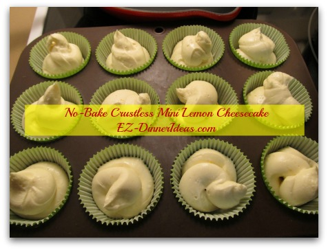 No-Bake Crustless Mini Lemon Cheesecake - Almost done.  One more step to go.