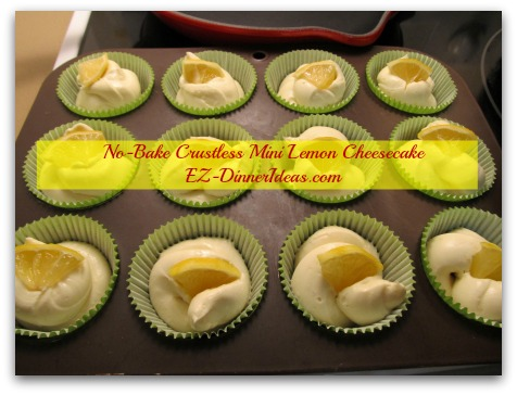 No-Bake Crustless Mini Lemon Cheesecake - Garnish with lemon slices and chill in the fridge for at least 4 hours or overnight before serving