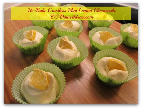 No-Bake Crustless Mini Lemon Cheesecake - Love the crust?  Use the SAME cheesecake filling and pipe it into the crust instead of cupcake liners