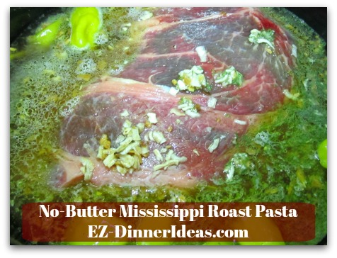 No-Butter Mississippi Roast Pasta - Add boiling water into the slow cooking