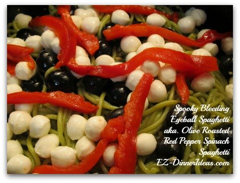 Olive Roasted Red Pepper Spinach Spaghetti
