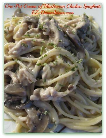 One-Pot Cream of Mushroom Chicken Spaghetti