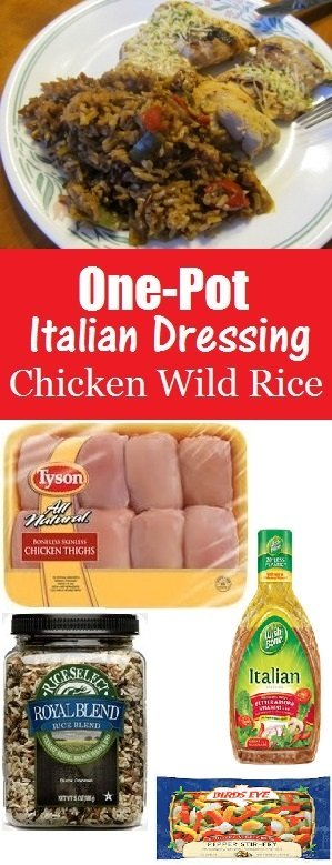 One-Pot Italian Dressing Chicken Wild Rice with Pepper and Onion - 4 easy ingredients to make this one-pot dinner