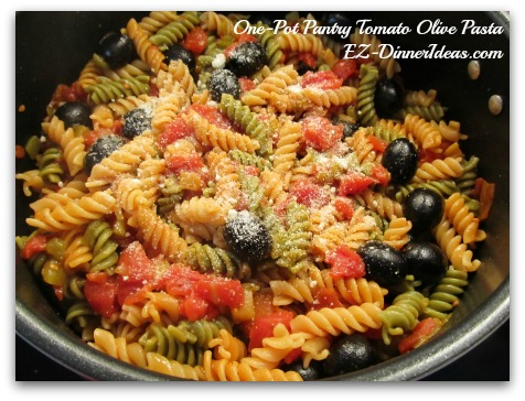 One-Pot Pantry Tomato Olive Pasta
