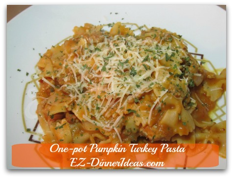 One-pot Pumpkin Turkey Pasta - Add Parmesan cheese and Parsley flakes and enjoy