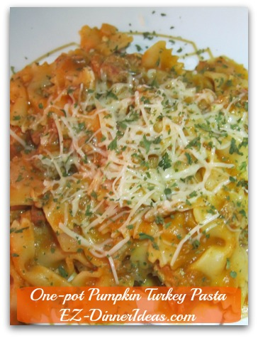 One-Pot Pumpkin Turkey Pasta Celebrating Thanksgiving and Fall At Any Given Time During The Year