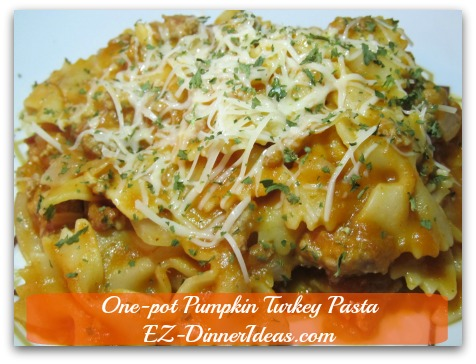 One-Pot Pumpkin Turkey Pasta - Pumpkin and turkey are great ingredients to make a savory recipe like this