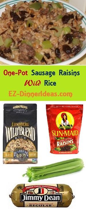 4 ingredients to make One-Pot Sausage Raisins Wild Rice