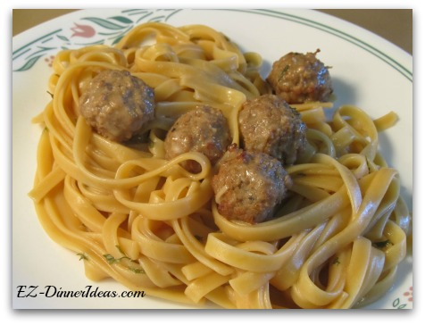 One-Pot Swedish Meatballs Fettuccine