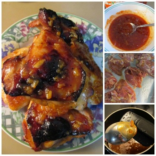 Oven Roasted Sticky Orange Sriracha Chicken