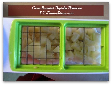 Baked Potato Hash | Oven Roasted Paprika Potatoes - Use onion cutter to dice potatoes make this process 2 times faster