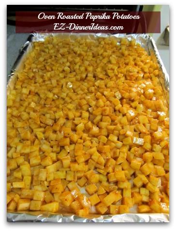 Baked Potato Hash | Oven Roasted Paprika Potatoes - Transfer seasoned potatoes and single layer them on a baking sheet