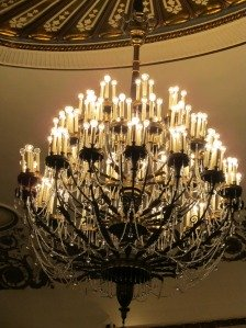 The gorgeous chandelier in the Proctors