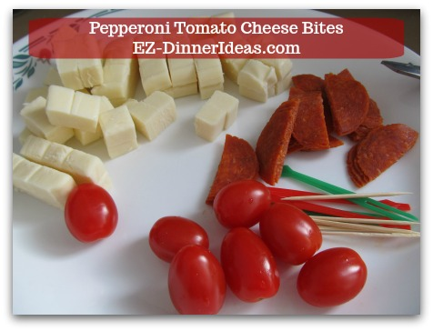 Cheese Finger Food | Pepperoni Tomato Cheese Bites - Get everything ready into an assembly line.