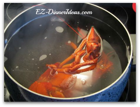 Add the lobster in the boiling water