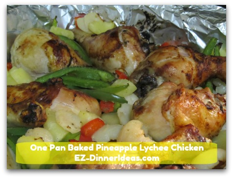 One Pan Baked Pineapple Lychee Chicken - Your work in this recipe is chopping up the vegetables.  Oven does most of the work for you