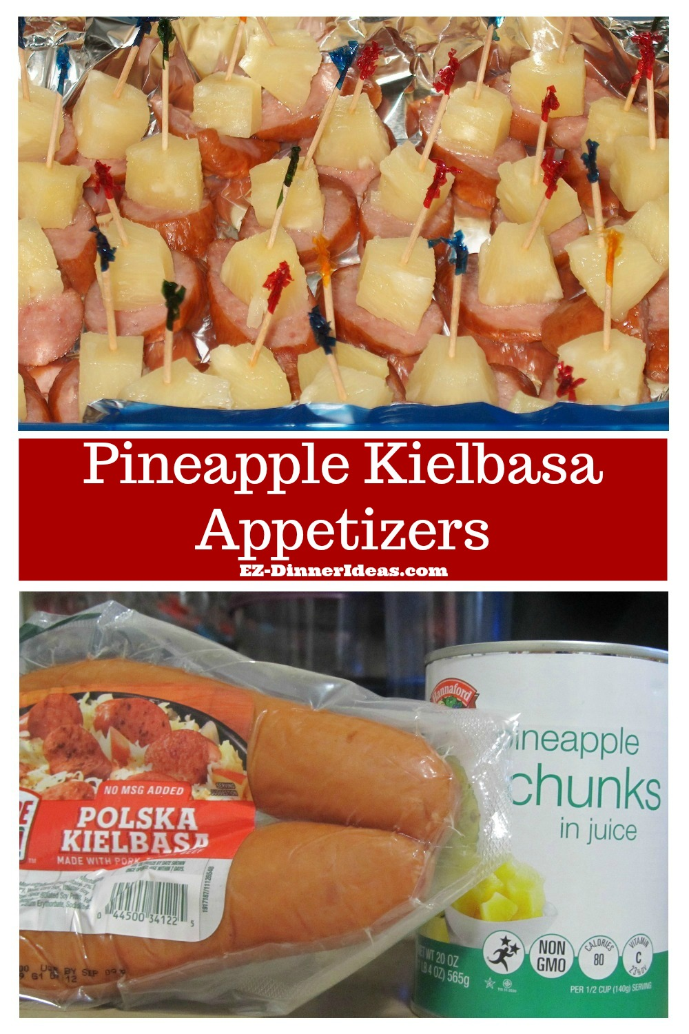 This pineapple kielbasa appetizers are not only quick and easy, but also a great kid recipe to bond with your little helpers.  Delicious recipe for any age.