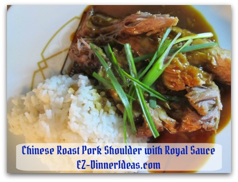 Award winning crockpot pork roast recipe in Chinese Royal Sauce served with steamed white rice.  It is way better than dining out in a 5-star restaurant.