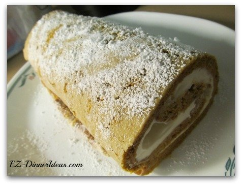 No-Towel Pumpkin Roll - Dusting powdered sugar on top can hide the flaw