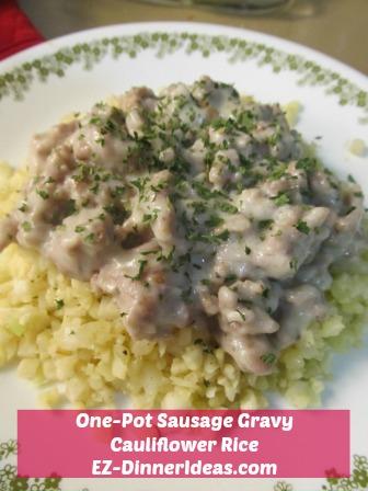 One-Pot Sausage Gravy Cauliflower Rice