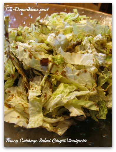 Closer look of Savoy Cabbage Salad Ginger Vinaigrette