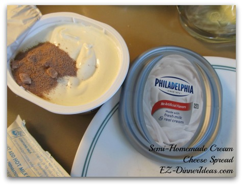 Easy Breakfast | Semi-Homemade Cream Cheese Spread for Bagels - Add 1/2 tbsp at a time to stir and combine.