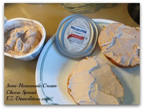 Back To School Recipes - Semi-Homemade Cream Cheese Spread on Bagels