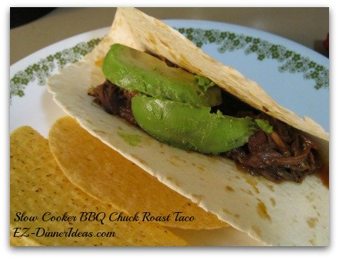 Slow Cooker BBQ Chuck Roast Taco