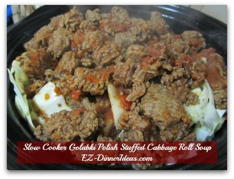 Slow Cooker Golabki Polish Stuffed Cabbage Roll Soup - Transfer meat into the slow cooker with a slotted spoon, then carefully pour in the stock tomato mixture