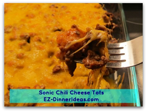 Sonic Chili Cheese Tots, a snack from fast food chain turns to a very economic homemade meal.