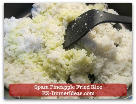 Hawaiian Fried Rice   Spam Pineapple Fried Rice - Cook overnight white rice in a deep skillet.