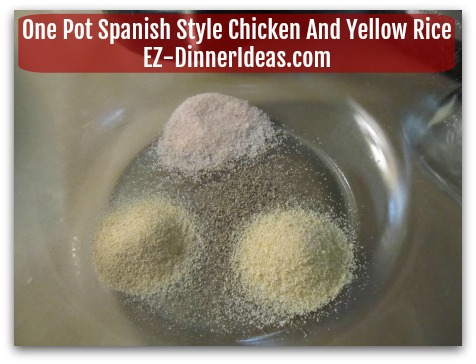 One Pot Spanish Style Chicken And Yellow Rice - Combine seasonings in a mixing bowl
