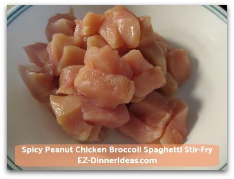 Spicy Peanut Chicken Broccoli Spaghetti Stir-Fry - 1 lb Skinless Boneless Chicken Breasts (cut in bite size)