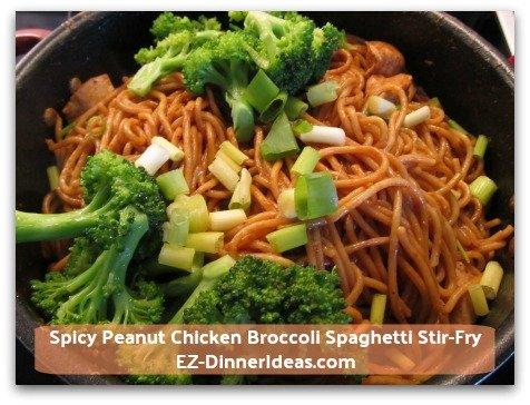 Spicy Peanut Chicken Broccoli Spaghetti Stir-Fry