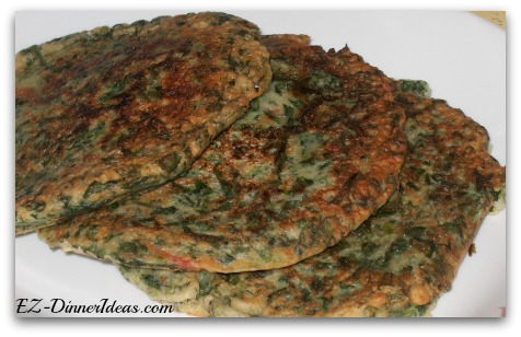 Triple this spinach pancakes recipe, it still only costs you under $10.  Plus, you can feed 8-12 people.  A good budget   recipe or what?