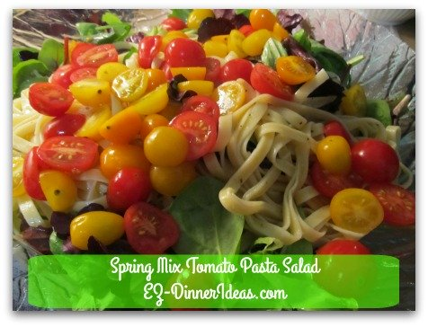 Spring Mix Tomato Pasta Salad - If you love tomatoes, this salad meal is for you.