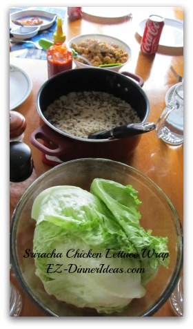 Sriracha Chicken Lettuce Wrap with Wild Rice