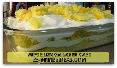 Super Lemon Layer Cake - Crumble the cut out cake pieces and sprinkle on top. Chill and enjoy!