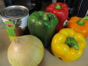 Basic vegetable ingredients for this sweet and sour pork recipe
