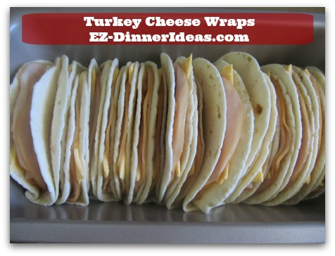Easy Breakfast Idea | Turkey Cheese Wraps - Instead of using a toaster, put all wraps into a loaf pan and warm them all up in the oven.