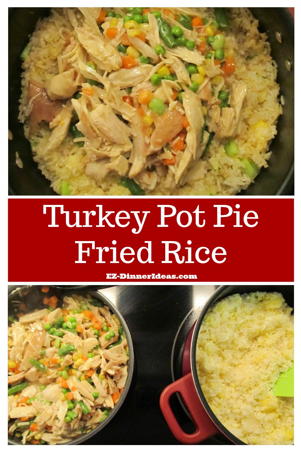 Turkey fried rice is a dish combined with 2 authentic dishes together.  The 2 main ingredients are leftover.  Nothing goes to waste and create a mouthwatering meal.