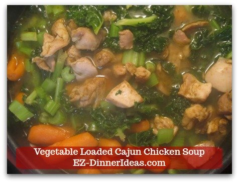 This kale chicken soup is loaded with tons of awesome vegetables.  It is super quick and easy and tasty.