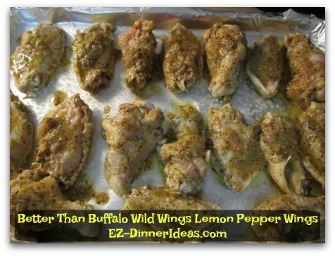 Better Than Buffalo Wild Wings Lemon Pepper Wings - Single layer on baking sheet, roast and turn halfway