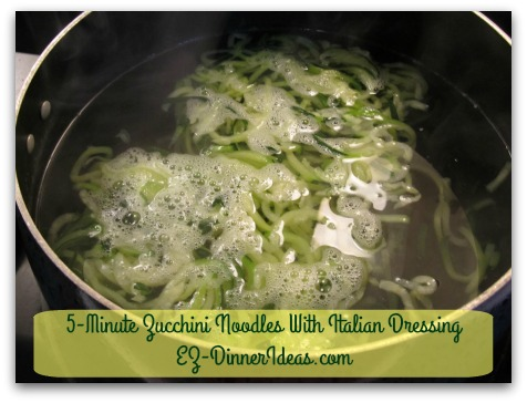 Cooking for Two   5-Minute Zucchini Noodles With Italian Dressing - As soon as the zucchini noodles are loosened up in boiling water, they are coming out.