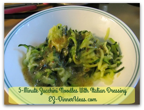 Cooking for Two   5-Minute Zucchini Noodles With Italian Dressing - Add Italian dressing.
