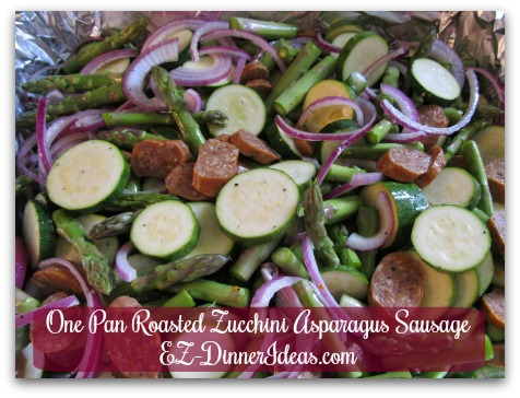 One Pan Roasted Zucchini Asparagus Sausage - Toss to coat and transfer into the preheated oven