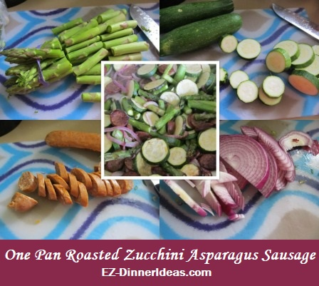 One Pan Roasted Zucchini Asparagus Sausage, a recipe great for celebrating fall harvest.